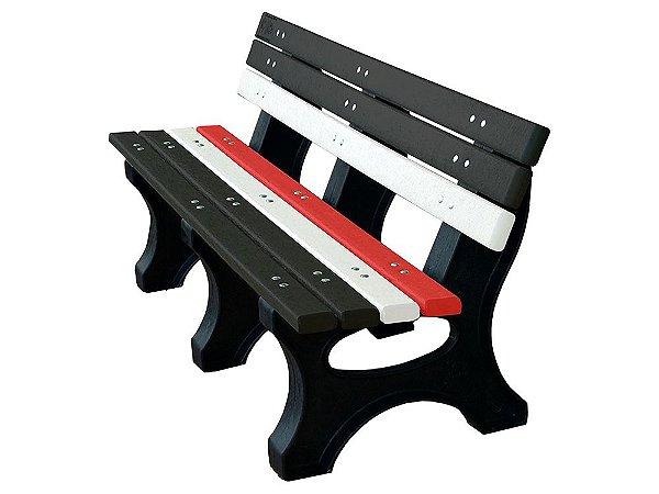 Banco Búzios personalizado madeira plástica 1,50m preto, branco e vermelho IV- Policog