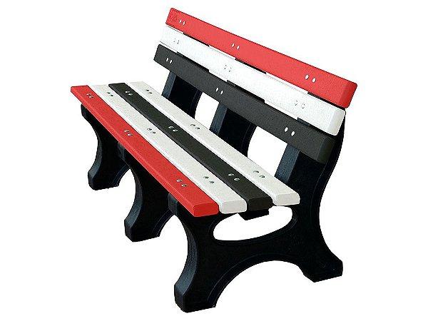 Banco Búzios personalizado madeira plástica 1,50m vermelho, branco e preto - Policog