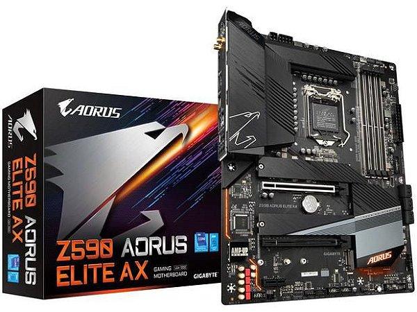 Placa Mãe Gigabyte Z590 Aorus Elite AX Intel - LGA 1200 DDR4 ATX suporta 10 e 11 Geração
