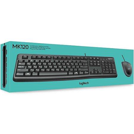 Teclado e Mouse Logitech MK120 Resistente a Agua 1000DPI Preto Abnt2