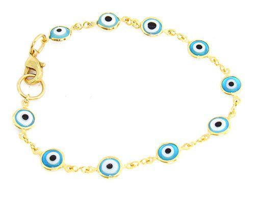 Pulseira Feminina Olho Grego Dourada