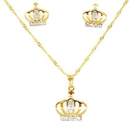 Kit Infantil Folheado a Ouro Coroa de Princesa com Detalhes em Brilho