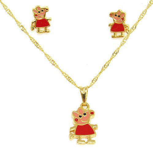 Kit Infantil Folheado a Ouro Peppa Pig