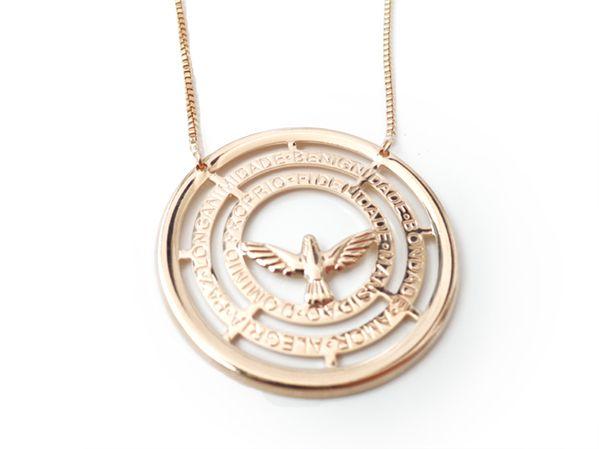 Colar Folheado a Ouro Medalhão Espirito Santo