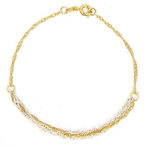 Pulseira Folheada a Ouro Dupla Com Detalhes Prateado e Dourado