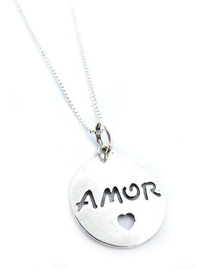 Gargantilha Prata 925 Pingente Amor