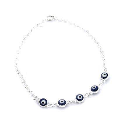 Pulseira de Prata 925 Olho Grego Azul Escuro