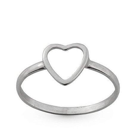 Anel de Prata Feminino Coração Pequeno Vazado