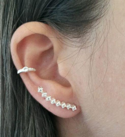 Brinco de Prata Ear Cuff Microzircônias