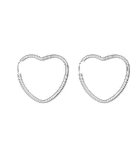 Brinco Argola Coração Médio - Prata 925