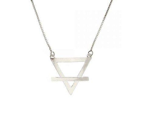 Gargantilha de Prata Triângulo - Elemento Terra