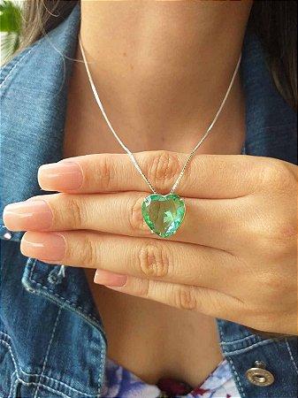 Colar de Prata Feminino Coração Verde