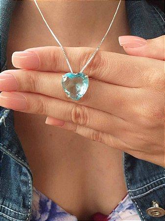 Colar de Prata Feminino Coração Azul
