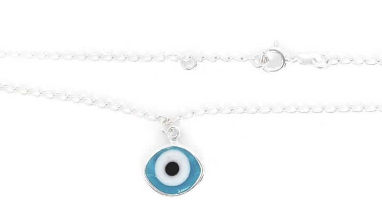 Tornozeleira de Prata Olho Grego