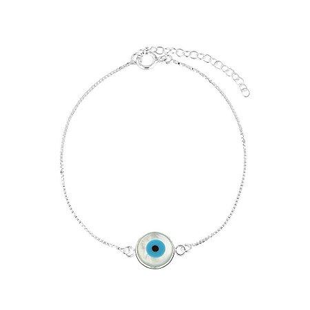 Pulseira de Prata Feminina Olho Grego Madrepérola Pequena