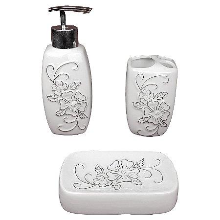 Kit Saboneteira Liquida Porcelana Flor 3 Peças - Wincy