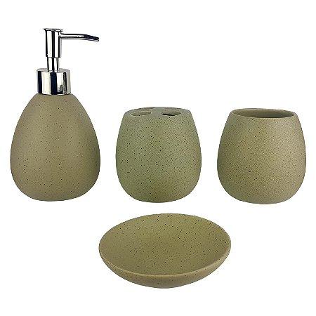 Kit Saboneteira Liquida Cerâmica Oval Bege 4 Peças - Susan