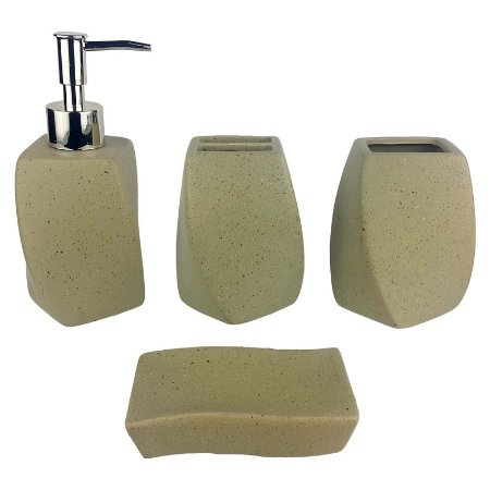 Kit Saboneteira Liquida Cerâmica Bege 4 Peças - Susan
