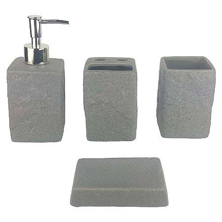 Kit Saboneteira Liquida Cerâmica Textura Pedra 4 Peças - Susan