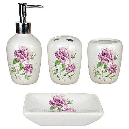 Kit Saboneteira Liquida Cerâmica 2 Flores 4 Peças - Susan