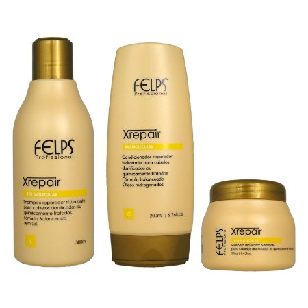 Kit Xrepair Bio Molecular Shampoo.Condicionador, Máscara Home Care - Felps Profissional