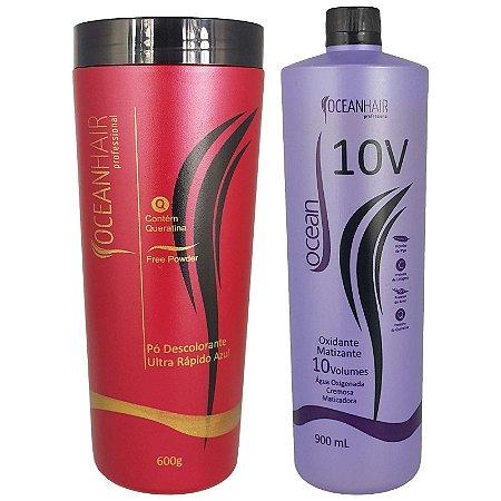 Pó Descolorante Ultra + Água Oxigenada Matizadora 10 Volumes - Ocean Hair