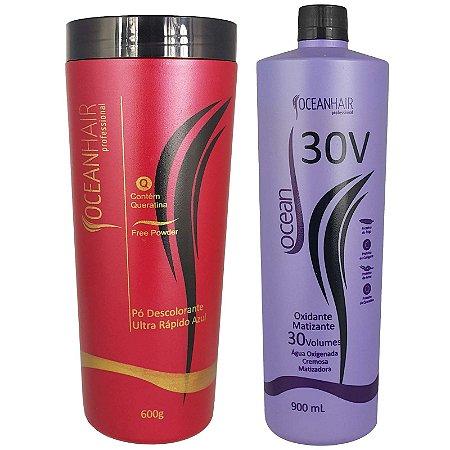 Pó Descolorante Ultra + Água Oxigenada Matizadora 30 Volumes - Ocean Hair