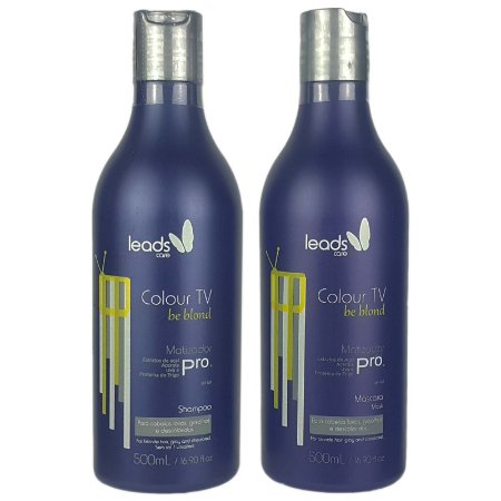 Shampoo e Máscara Matizador de Tons Loiros Colour Tv Be Blond 2x500ml - Leads Care