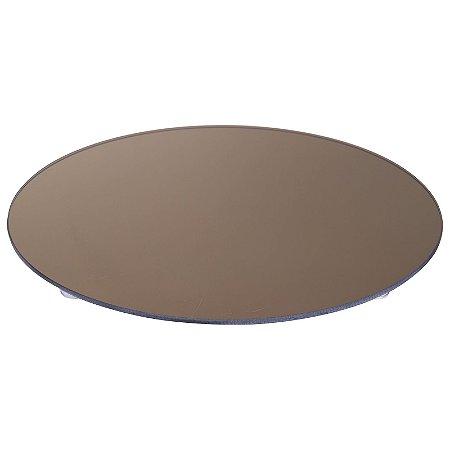 Travessa Redonda Espelhada Bronze Boleira  Doces e Festa 30cm - VEG