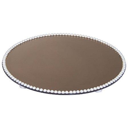 Travessa Redonda Espelhada Bronze com Pérolas Boleira  Doces e Festa 40cm - VEG