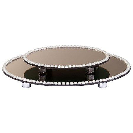 Kit Travessa Redonda Espelhada Bronze com Pérolas Boleira  Doces e Festa 30 e 40 cm - VEG