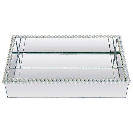 Bandeja Retangular de Vidro Espelhado Duplo Decorativa com Pérolas 25x15 cm - VEG