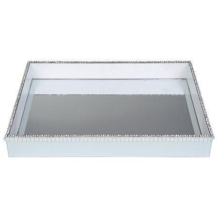 Bandeja Decorativa Retangular de Vidro Branco com Pérolas e Strass 40x30 cm - VEG
