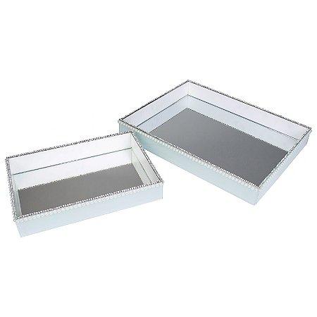 Kit Bandeja Decorativa Retangular de Vidro Branco com Pérolas e Strass 30x20 e 40x30 cm - VEG