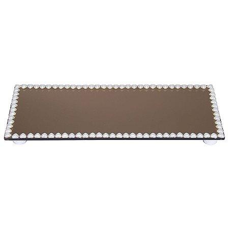 Travessa Retangular Espelhada Bronze Decorada com Pérolas de coração 30x12 cm - VEG