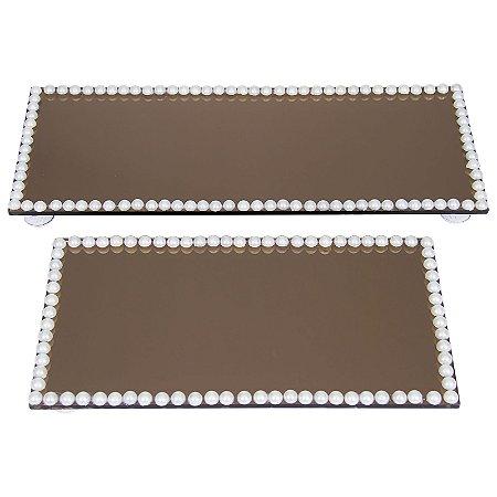 Kit Travessa Retangular Espelhada Bronze Decorada com Pérolas  30x12 e 23x12 cm - VEG