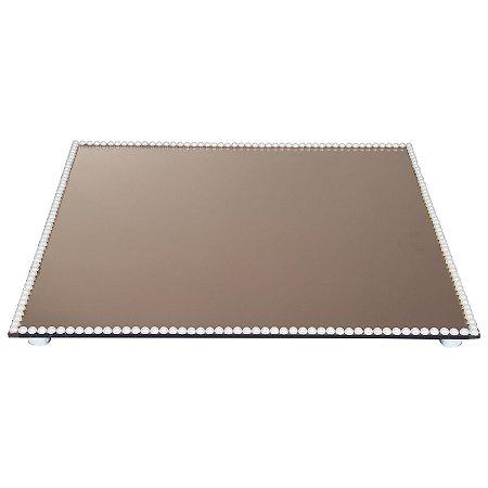 Travessa Quadrada Espelhada Bronze Decorada com Pérolas 40x40 cm - VEG