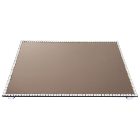 Travessa Quadrada Espelhada Bronze Decorada com Pérolas 30x30 cm - VEG