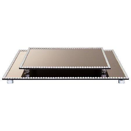 Kit Travessa Quadrada Espelhada Bronze Decorada com Pérolas  40x40 e 30x30 cm - VEG
