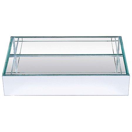 Bandeja Retangular de Vidro Espelhado Duplo  25x15 cm - VEG