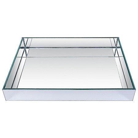 Bandeja Retangular de Vidro Espelhado Duplo  40x30 cm - VEG