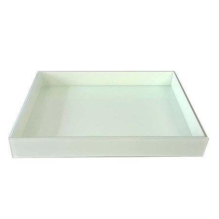 Bandeja Retangular de Vidro Branco  40x30 - VEG