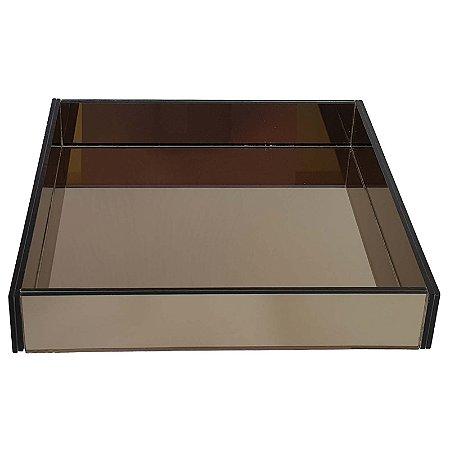 Bandeja Quadrada de Vidro Espelhado Bronze 40x40 cm - VEG