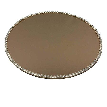 Travessa Redonda Espelhada Bronze com Pérolas de Coração Boleira  Doces e Festa 20cm - VEG