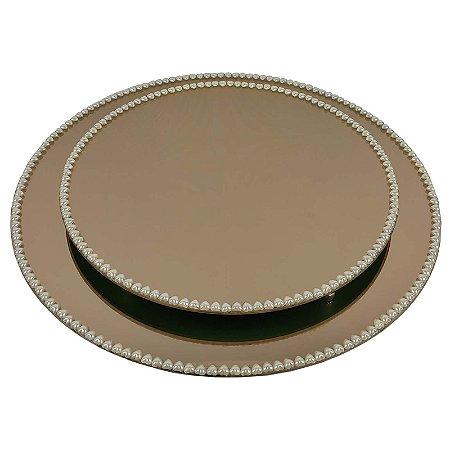 Kit Travessa Redonda Espelhada Bronze com Pérolas de Coração Boleira  Doces e Festa 35 e 40 cm - VEG