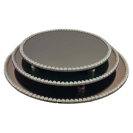 Kit Travessa Redonda Espelhada Bronze com Pérolas de Coração Boleira  Doces e Festa 35, 40 e 45 cm - VEG