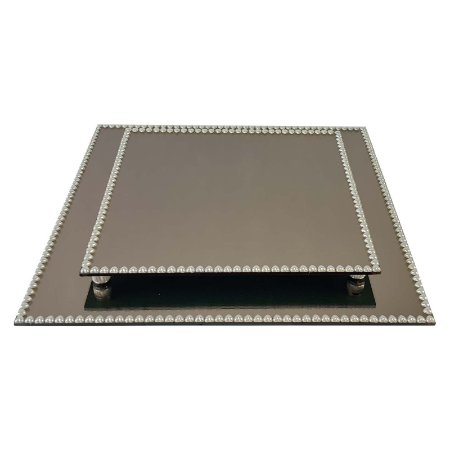 Kit Travessa Quadrada Espelhada Bronze Decorada com Pérolas de Coração 40x40 e 30x30 cm - VEG