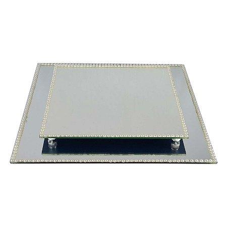 Kit Travessa Quadrada Espelhada Decorada com Pérolas  40x40 e 30x30 cm - VEG