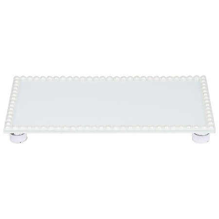 Travessa Retangular Vidro Branco Decorada com Pérolas 23x12 cm - VEG