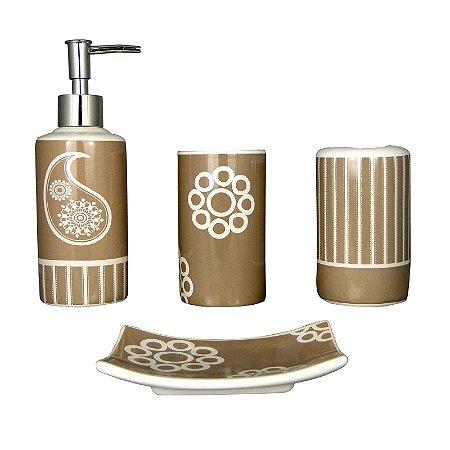 Kit Saboneteira Liquida Cerâmica Marron Decorada 4 Peças - Susan